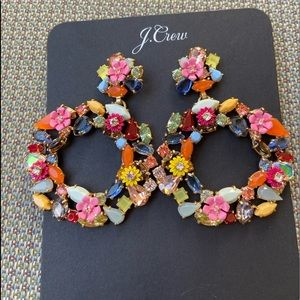 J. Crew colorful floral glass stones hoops